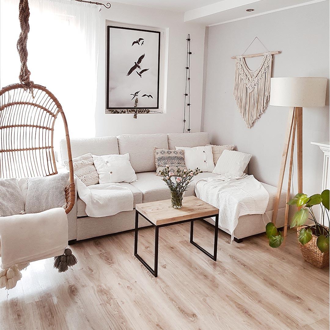 Canapé d'angle droit beige avec fonction lit